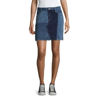 Arizona Patched Denim Skirt-Juniors