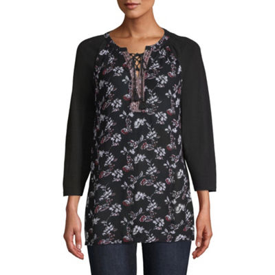 St. John's Bay Womens Round Neck 3/4 Sleeve Tunic Top