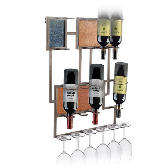 Dark Bronze Finish Metal Wall Hanging 8-Bottle Wine Rack with Decorative Glass Panels