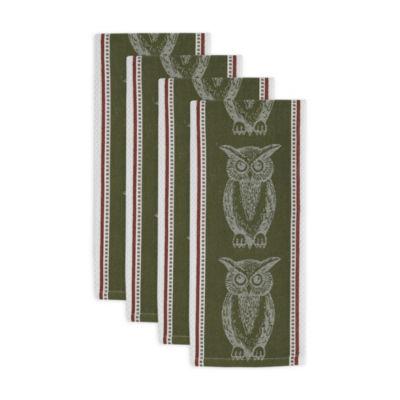 Owl Jacquard Dishtowel Set - Set of 4
