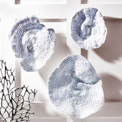 Two's Company Set Of 3 Velvet Coral Wall Sculptures