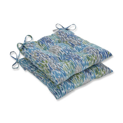Pillow Perfect Set of 2 Make It Rain Cerulean Wrought Iron Patio Seat Cushion