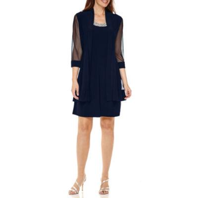 R&M Richards 3/4 Sleeve Embellished Jacket Dress