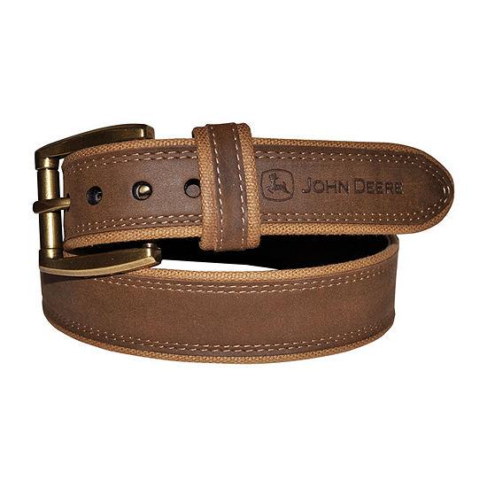 John Deere® Leather Center Belt with Canvas Edges