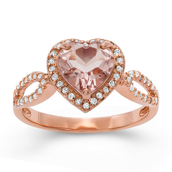 Womens Pink 14K Rose Gold Over Silver Heart Halo Cocktail Ring