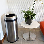 iTouchless Dual-Deodorizer Round Open Top Trash Can, Commercial Grade, Stainless Steel, 16 Gallon, 10-Inch Opening