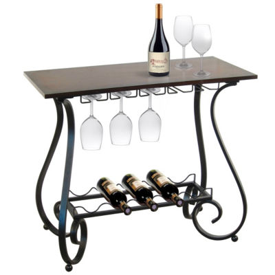 5-Bottle Metal Decorative Curved Legs Wine Storage Table With Wood Top