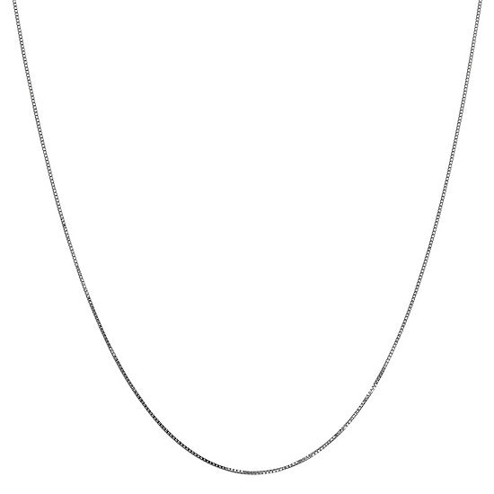 "14K White Gold 14-24"" Solid Box Chain Necklace"