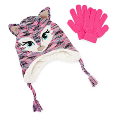 Capelli of N.Y. 2pc Fox Hat and Glove Set-Big Girls