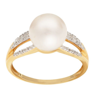Womens 1/10 CT. T.W. 9MM White Cultured Freshwater Pearl 14K Gold Cocktail Ring
