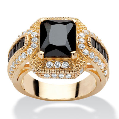 Diamonart Womens 5 3/4 CT. T.W. Black Cubic Zirconia 14K Gold Over Silver Rectangular Engagement Ring
