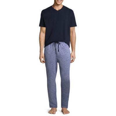 Stafford Mens Pant Pajama Set 2-pc. Short Sleeve