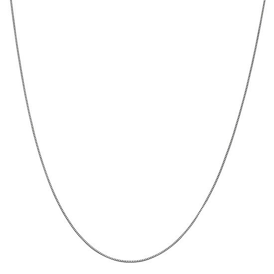 14K White Gold Solid Box 14-24 Inch Chain Necklace