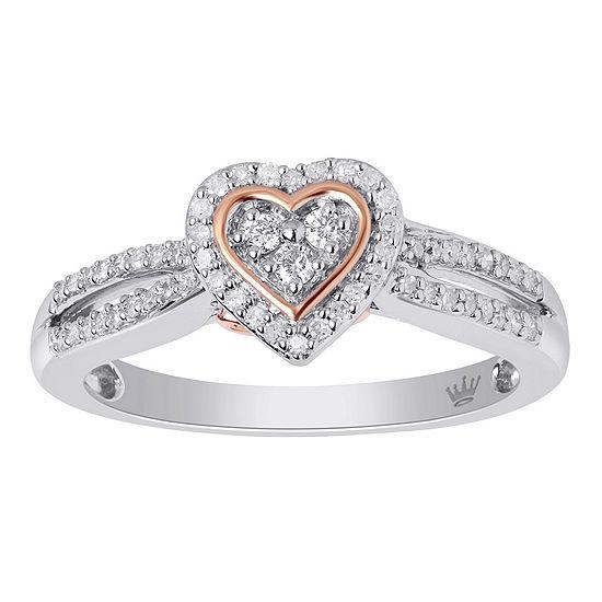 Hallmark Diamonds Womens 1/4 CT. T.W. Genuine White Diamond 14K Gold Over Silver Cocktail Ring