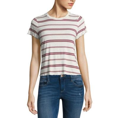 Pink Rose Short Sleeve Scoop Neck Pattern T-Shirt-Womens Juniors