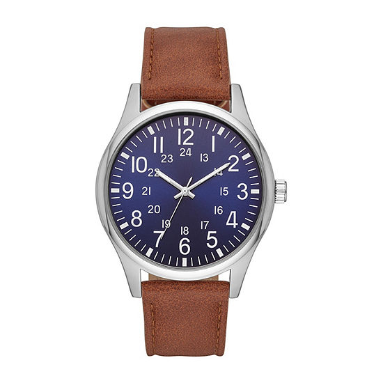Mens Brown Strap Watch-Fmdjo140