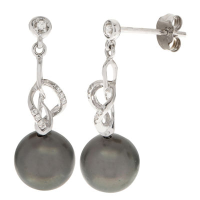 Diamond Accent Black Cultured Tahitian Pearl 14K White Gold Drop Earrings