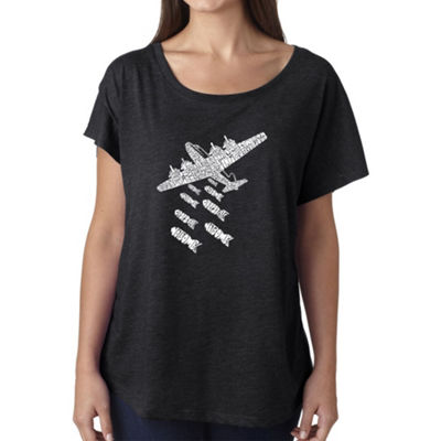 Los Angeles Pop Art Women's Loose Fit Dolman Cut Word Art Shirt - DROP BEATS NOT BOMBS