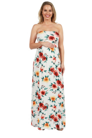 24Seven Comfort Apparel Lindsey Strapless Empire Waist Maternity Maxi Dress
