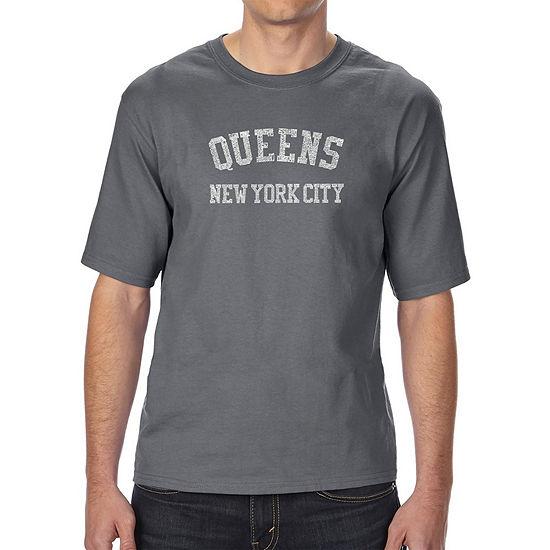 Los Angeles Pop Art Men's Tall and Long Word Art T-shirt - POPULAR NEIGHBORHOODS IN QUEENS, NY