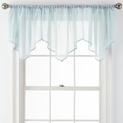Home Expressions Crushed Voile Rod-Pocket Ascot Valance