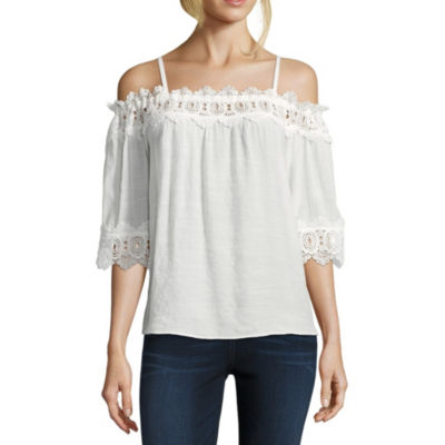 by&by Womens Straight Neck 3/4 Sleeve Blouse-Juniors