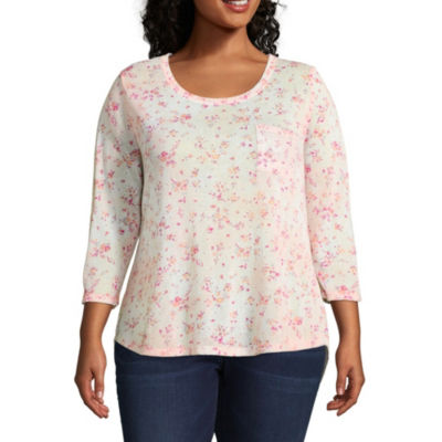 Wallflower 3/4 Sleeve Scoop Neck Floral T-Shirt-Womens Juniors Plus