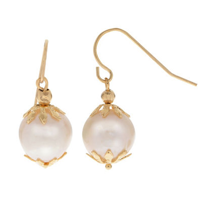 White Cultured Freshwater Pearl 14K Gold Drop Earrings