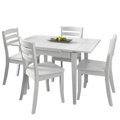 CorLiving Dillon 5pc Extendable Rectangular White Wooden Dining Set