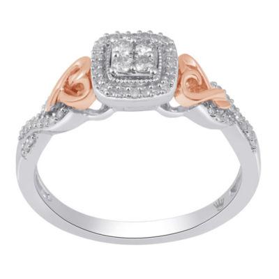 Hallmark Diamonds Womens 1/5 CT. T.W. Genuine White Diamond 14K Gold Over Silver Cocktail Ring