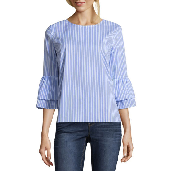 by&by 3/4 Sleeve Round Neck Poplin Blouse-Juniors