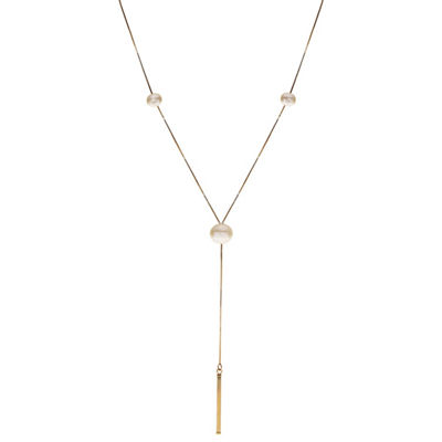 Womens White Cultured Freshwater Pearl 14K Gold Y Necklace