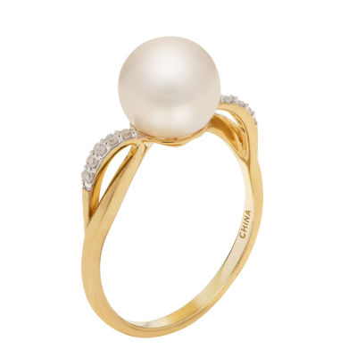 Womens Diamond Accent 8MM White Cultured Freshwater Pearl 14K Gold Cocktail Ring