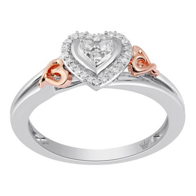 Hallmark Diamonds Womens 1/10 CT. T.W. Genuine White Diamond 14K Gold Over Silver Cocktail Ring