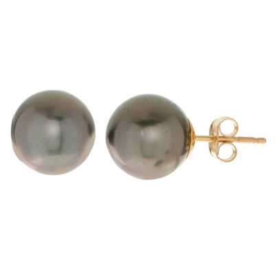 Black Cultured Tahitian Pearl 14K Gold 9.5mm Stud Earrings