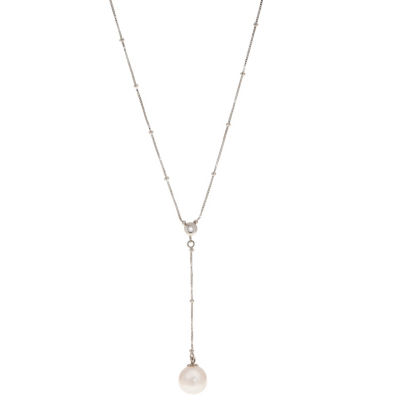 Womens Diamond Accent White Cultured Freshwater Pearl 14K White Gold Y Necklace