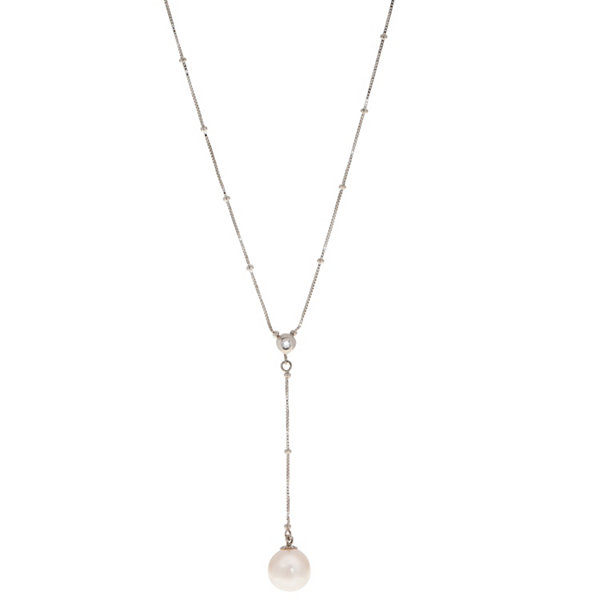 Womens Diamond Accent White Pearl 14K Y Necklace