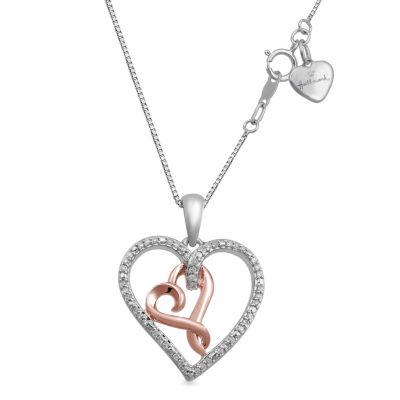 Hallmark Diamonds Womens 1/10 CT. T.W. Genuine White Diamond 14K Gold Over Silver Sterling Silver Pendant Necklace