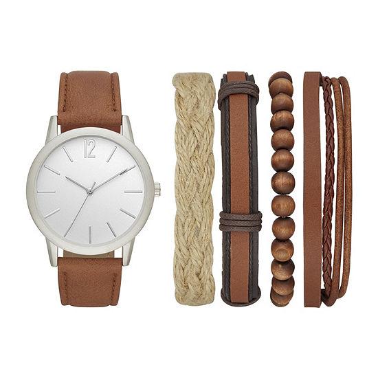 Mixit Mens Brown Watch Boxed Set-Fmdjset531