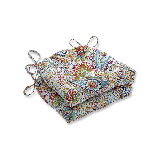 Pillow Perfect Set of 2 Gilford Festival Reversible Patio Seat Cushions