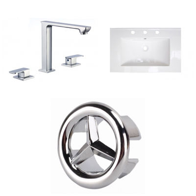 24-in. W 3H8-in. Ceramic Top Set In White Color -CUPC Faucet Incl.