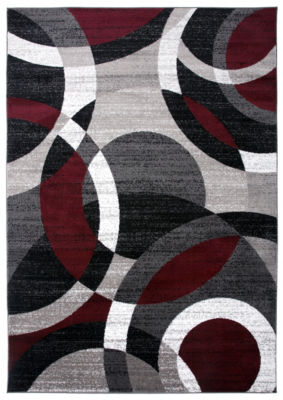 World Rug Gallery Contemporary Modern Circles Abstract Area Rug
