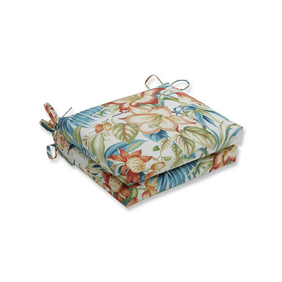 Pillow Perfect Set of 2 Botanical Glow Tiger Lily Squared Corners Patio Seat Cushion