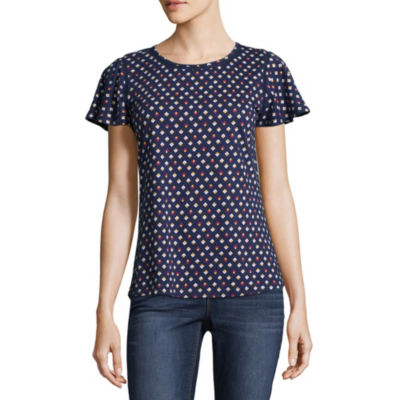 Liz Claiborne Short Sleeve Crew Neck Geometric T-Shirt-Womens Petite