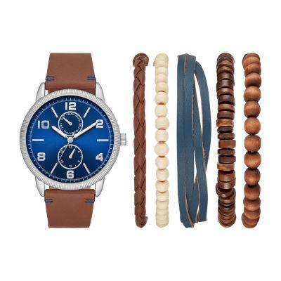 Mixit Jcp Mens Brown Watch Boxed Set-Fmdjset534