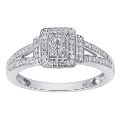 Hallmark Diamonds Womens 1/4 CT. T.W. White Diamond Gold Over Silver Cocktail Ring