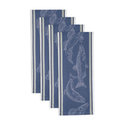 Fish Jacquard Dishtowel Set - Set of 4