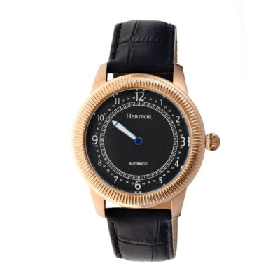 Heritor Automatic Hoyt One-Hand Mens Leather-Rose Gold/Black Watches