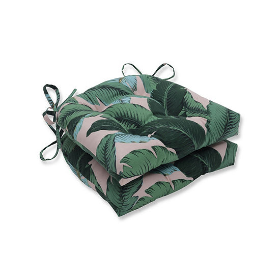 Pillow Perfect Set Of 2 Swaying Palms Capri Reversible Patio Seat Cushions