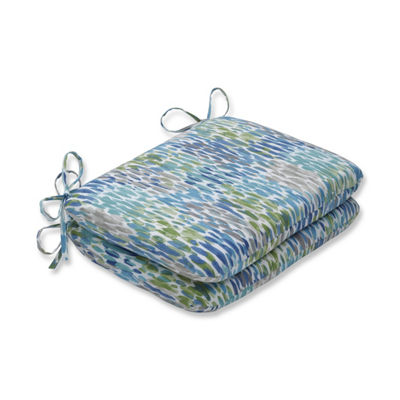 Pillow Perfect Set of 2 Make It Rain Cerulean Rounded Corners Patio Seat Cushion